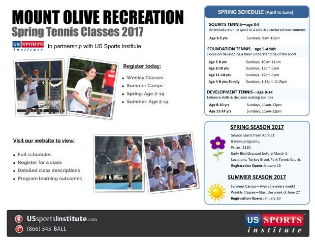 Mount Olive Spring Tennis Flyer 2017